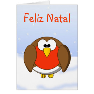 Christmas Robin Redbreast in Portuguese Language Greeting Card