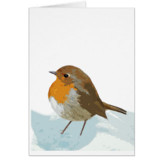 Christmas Robin Redbreast in Snow Greeting Card