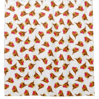 Christmas Robin, white background, customise me. Shower Curtain