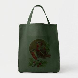 Christmas robins on holly canvas bags