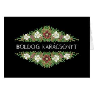 Christmas Roses, Hellebores, Hungarian Language Card
