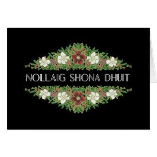 Christmas Roses, Hellebores, Irish Gaelic Language Card
