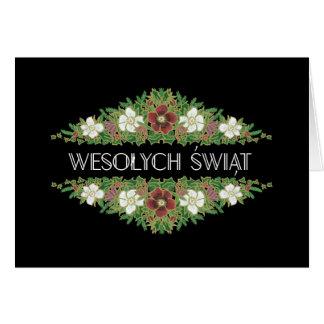 Christmas Roses, Hellebores, Polish Language Card