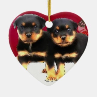 Christmas Rottweiler puppies Ceramic Heart Decoration