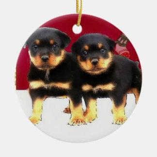 Christmas Rottweiler puppies Round Ceramic Decoration