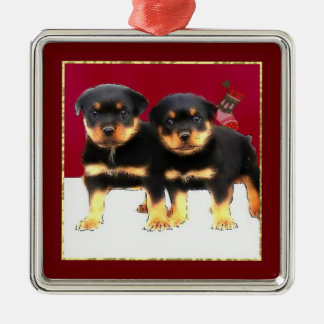 Christmas Rottweiler puppies Silver-Colored Square Decoration