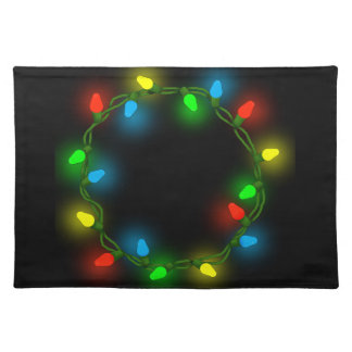 Christmas round lights placemat
