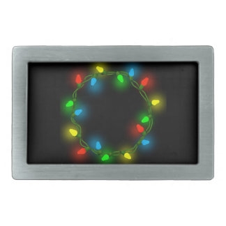 Christmas round lights rectangular belt buckles