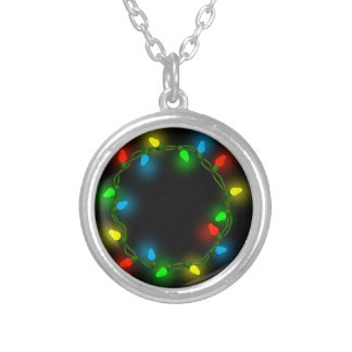 Christmas round lights silver plated necklace