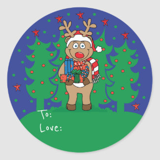 """Christmas Round Stickers """"Rudolph"""" Personalize"""