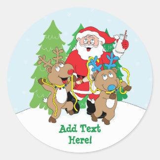 Christmas Round Stickers Santa Claus Personalise
