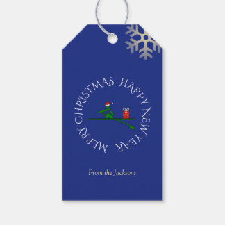 Christmas rower custom text blue gift tags