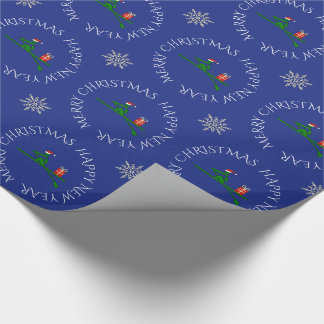Christmas rower custom text blue wrapping paper