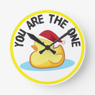 Christmas rubber duck with hat clock