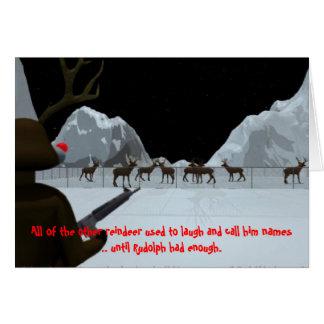 Christmas Rudolph s Revenge Greeting Cards