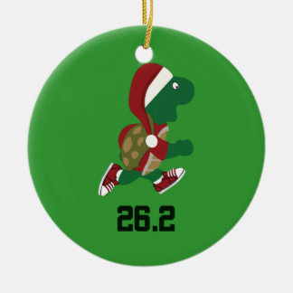 Christmas Running Turtle 26.2 Ceramic Ornament