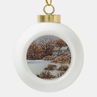 Christmas rural cottages snow scene art ceramic ball decoration