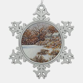Christmas rural cottages snow scene art pewter snowflake decoration