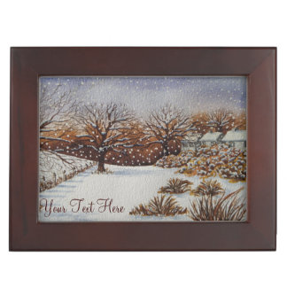 Christmas rural cottages snow scene art memory boxes