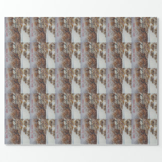 Christmas rural cottages snow scene art wrapping paper