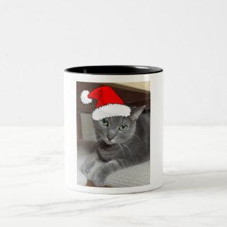Christmas Russian Blue Gray Cat Two-Tone Coffee Mug