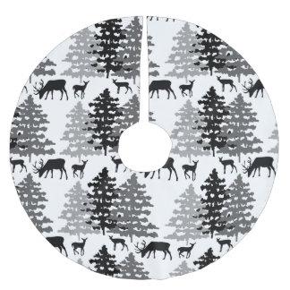 Christmas Rustic Deer Winter Woodland Pine Trees Brushed Polyester Tree Skirt