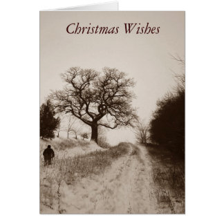 Christmas rustic snow scene sepia photo art greeting card