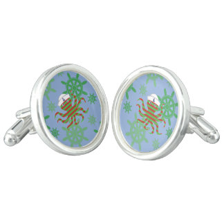 Christmas sailor baby octopus with blue background cuff links