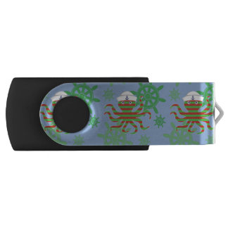 Christmas sailor baby octopus with blue background USB flash drive
