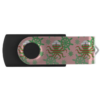Christmas sailor baby octopus with pink background USB flash drive