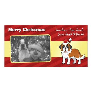 Christmas Saint Bernard Photo Card Template