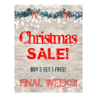 Christmas Sale Flyer Bark Wood Yuletide