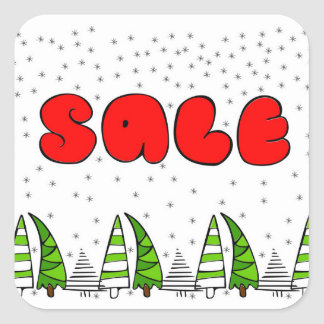 """Christmas """"Sale"""" sign with xmas trees decor Square Sticker"""