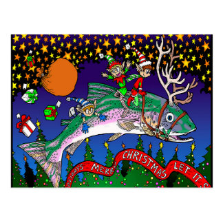 Christmas Salmon Postcard