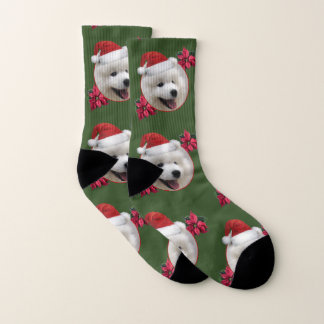 Christmas Samoyed puppy socks 1