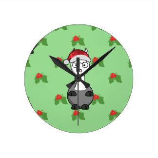christmas santa Alpaca Round Clock