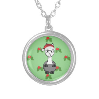 christmas santa Alpaca Silver Plated Necklace