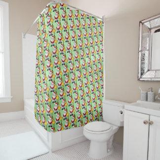Christmas Santa and Deer on green metal effect Shower Curtain