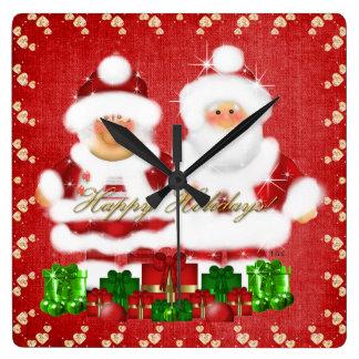 Christmas Santa and Mrs Claus clock