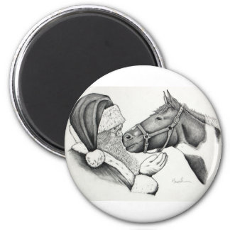 Christmas Santa and Paint Horse Magnet