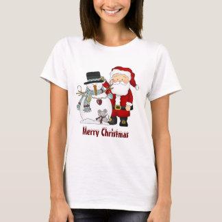 Christmas Santa and Snowman t-shirt