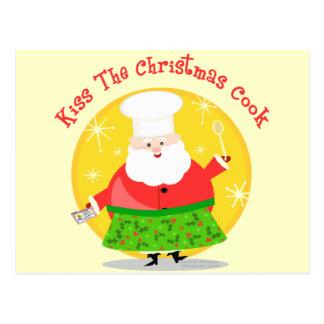 Christmas Santa Chef Postcard