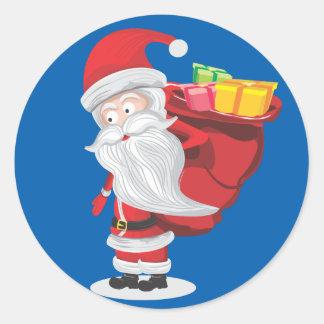 christmas santa classic round sticker