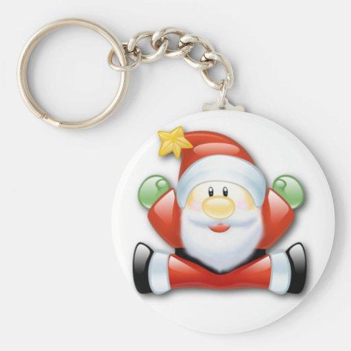 Christmas Santa Claus Basic Button Keychan Key Chains