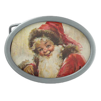 Christmas Santa Claus Brundage Oval Belt Buckles