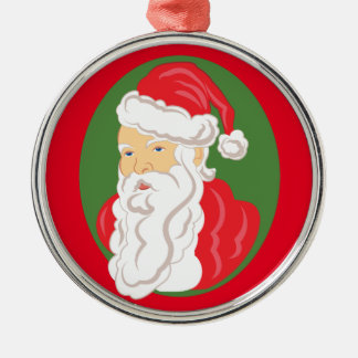 Christmas Santa Claus Cameo Metal Ornament