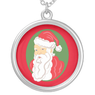 Christmas Santa Claus Cameo Silver Plated Necklace