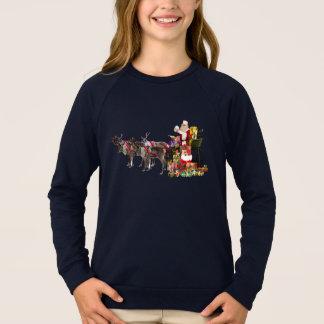 Christmas Santa Claus Girls' Raglan Sweatshirt