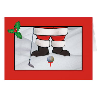 Christmas, Santa Claus Playing Golf in the Snow Greeting Card