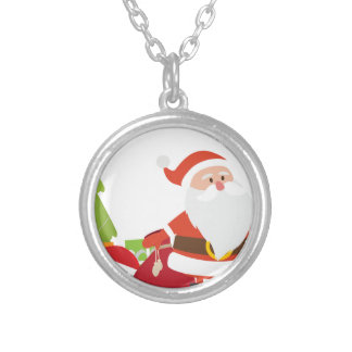 Christmas Santa Claus Presents Gift Cute Cartoon Silver Plated Necklace